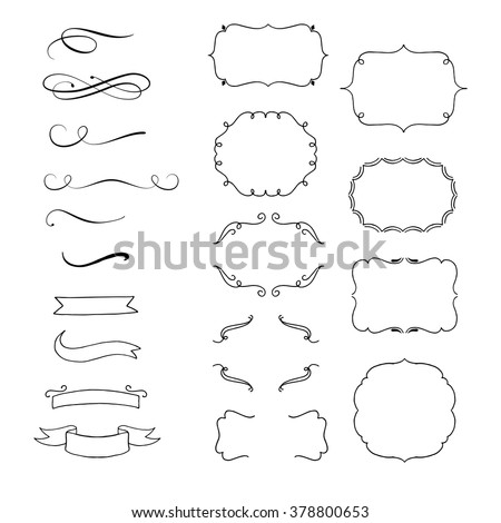Hand Drawn Vector Flourishes, Brackets, Frames, Banners. Design elements - stock vector