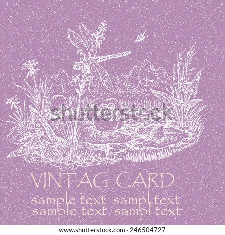 Hand drawn vector, forest landscape with the lake, a water-lily and a dragonfly, vintage card. - stock vector