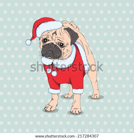 Hand Drawn Vector hipster dog  French Bulldog breed in the red hat of Santa Claus - stock vector