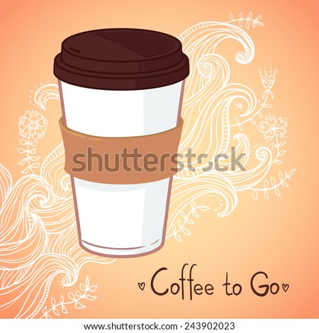 Hand drawn vector illustration - Coffee to go. Background with waves and flowers  - stock vector