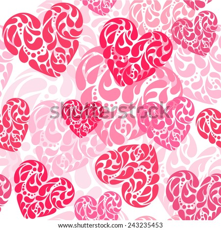 Hand drawn vector illustration - decorative hearts. Seamless pattern - stock vector