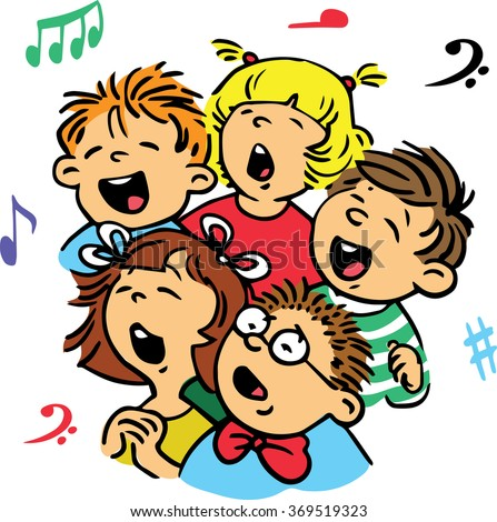 Hand drawn. Vector illustration. Group of children singing in unison a song. - stock vector