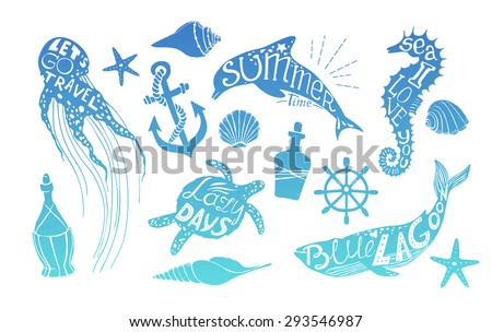 Hand drawn vector illustration - Marine kit. Design elements for postcards, banners and invitations. Silhouette of whales, dolphins, sea horses, turtles and jellyfish with summer citations. - stock vector