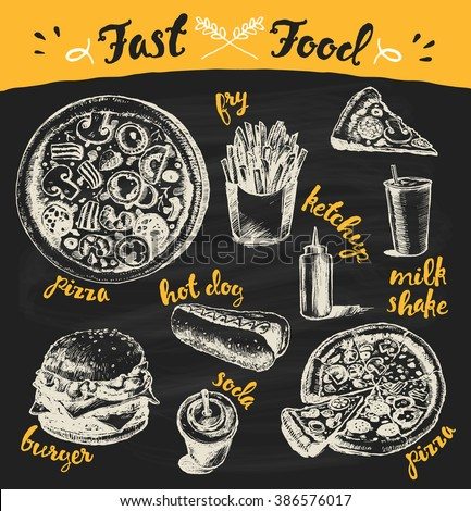 Hand drawn vector illustration of a fast food theme products on black background. Fry, pizza, burger, hot dog and more. - stock vector