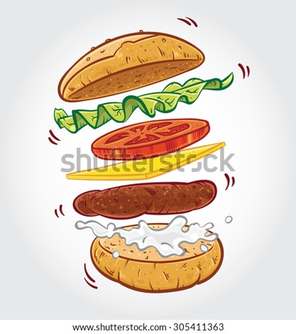 Hand drawn vector illustration of a Hamburger with ingredients jumping in the air on white background. - stock vector