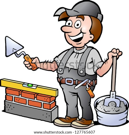 Hand-drawn Vector illustration of an Happy Bricklayer Handyman - stock vector