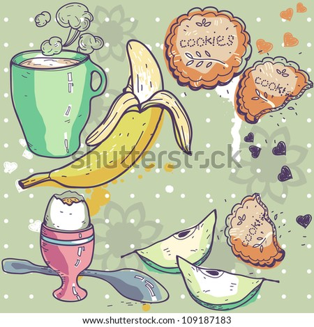 hand-drawn vector illustration of breakfast food - stock vector