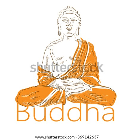 Hand drawn vector illustration of Buddha - stock vector
