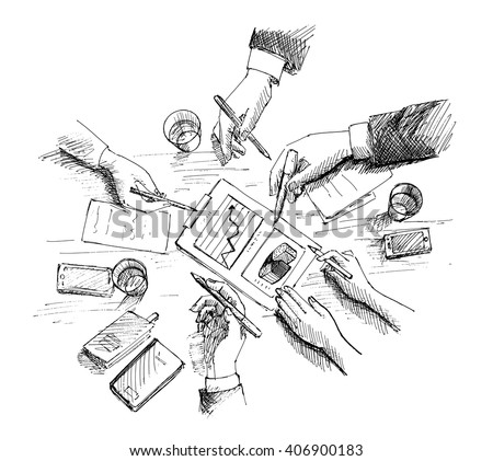 Hand Drawn vector illustration of Corporate meeting, planning and teamwork. Top view concept with businessman hands and various office objects. - stock vector