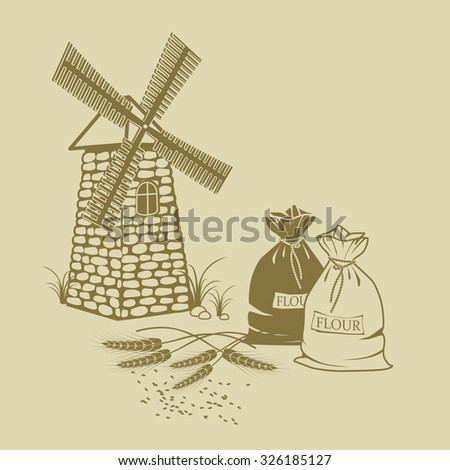 hand-drawn Vector illustration of ears of wheat, sacks of flour and windmill - stock vector