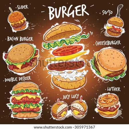 Hand drawn vector illustration of eight popular Burger varieties, including Hamburger, Cheeseburger, Bacon Burger, Double Decker Burger, Slider Burger, Luther Burger, 50/50 Burger, Juicy Lucy Burger. - stock vector