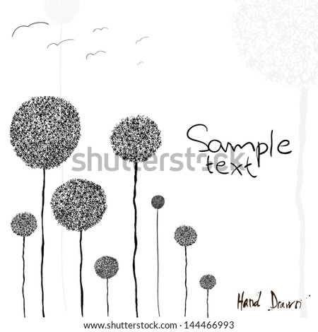 Hand drawn vector illustration of flowers with space for copy text. - stock vector