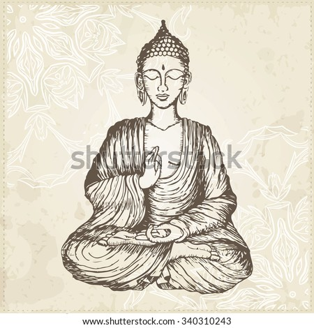 Hand drawn vector illustration of Sitting Buddha. - stock vector