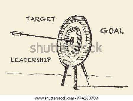 Hand drawn vector illustration of target, sketch - stock vector