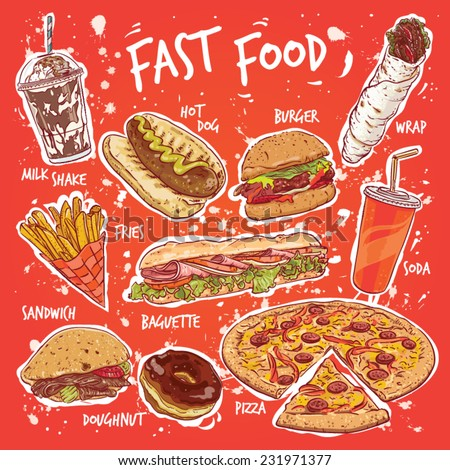 Hand drawn vector illustration of ten common fast food products. - stock vector