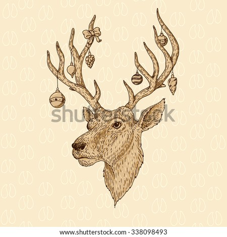 Hand drawn vector illustration of the deer head with christmas balls on the horns - stock vector