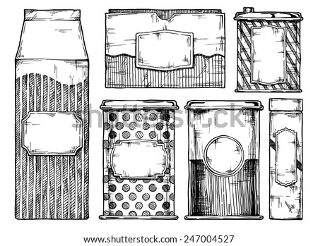 Hand drawn vector illustration of vintage packaging. - stock vector