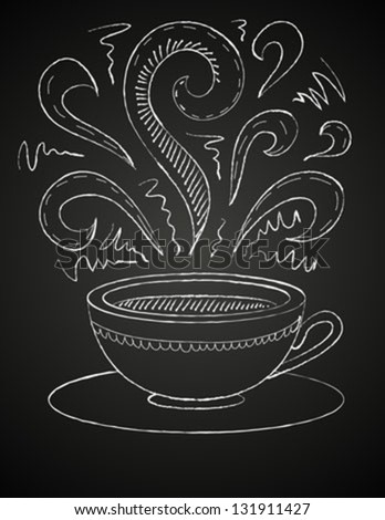 Hand drawn vector illustration of white cup and curly ornaments on blackboard. Concept image of coffeehouse, restaurant, menu, cafe, coffee shop, leisure, morning, evening, date, tea house, aroma - stock vector