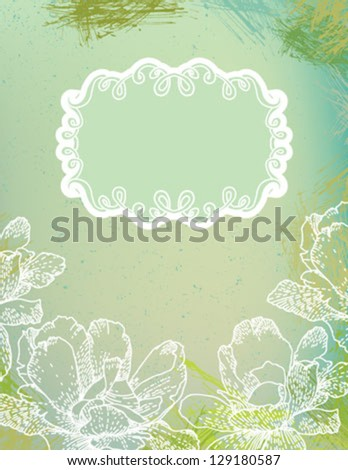 hand drawn vector illustration of white ornamental flowers over green watercolor splashes background. Concept image of love, spring, happiness, for valentine card, invitation, stationary blank. - stock vector