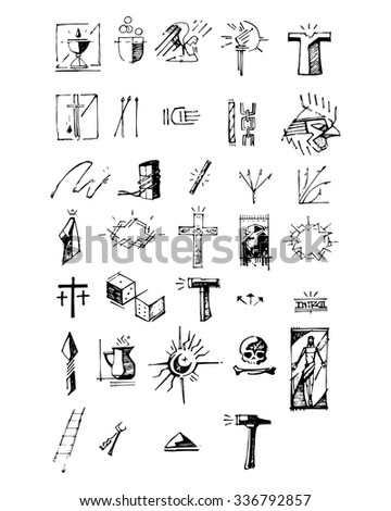 Hand drawn vector illustration or drawing of different symbols of Jesus Christ Passion - stock vector