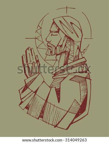 Hand drawn vector illustration or drawing of Jesus Christ praying - stock vector