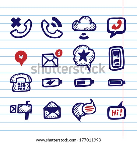 Hand Drawn Vector Illustration Set of Communication Sign and Symbol. - stock vector
