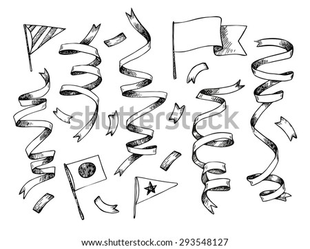 Hand-drawn vector illustration - Set of Confetti and flags. Design elements for creation cards, posters, invitations - stock vector