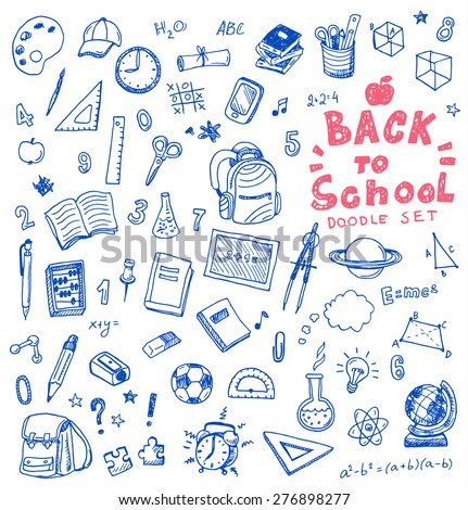 Hand drawn vector illustration set of school sign and symbol doodles elements.  - stock vector