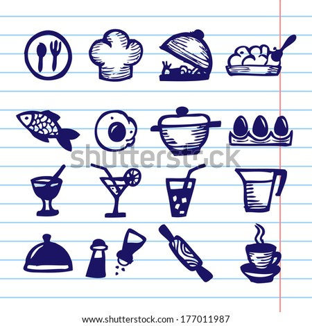 Hand Drawn Vector Illustration Set of Social Media Sign and Symbol. - stock vector