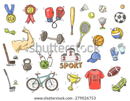 Hand drawn vector illustration set of sports sign and symbol doodles elements.  - stock vector