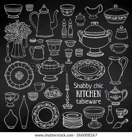 Hand drawn vector illustration shabby-chic kitchen set. Black and white sketch of dishes  on blackboard - stock vector
