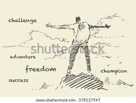 Hand drawn vector illustration, silhouette of a successful climber on a mountain, sketch - stock vector