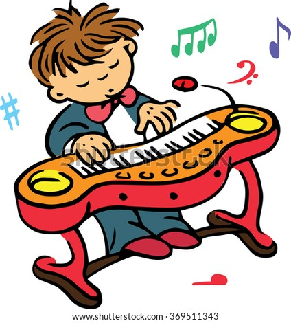Hand drawn. Vector illustration. The boy who plays on the clavier. - stock vector