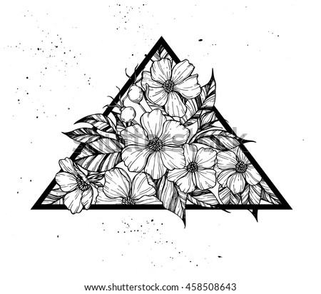 Hand drawn vector illustration - triangle with flowers and leaves. Perfect for invitations, greeting cards, quotes, tattoo, textiles, blogs, posters etc. - stock vector