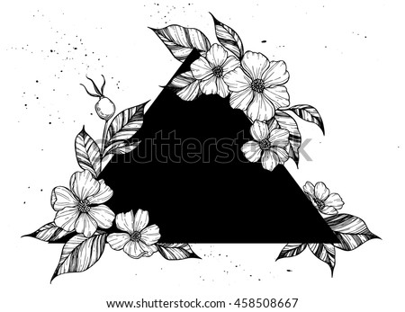 Hand drawn vector illustration - triangle with flowers and leaves. Perfect for invitations, greeting cards, quotes, tattoo, textiles, blogs, posters etc. Floral designblogs, posters etc.
