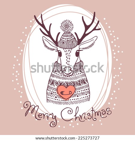 Hand drawn vector illustration with cute deer. Merry Christmas card. - stock vector