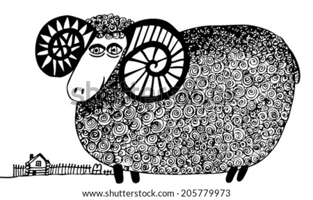 Hand drawn vector illustration with sheep - stock vector
