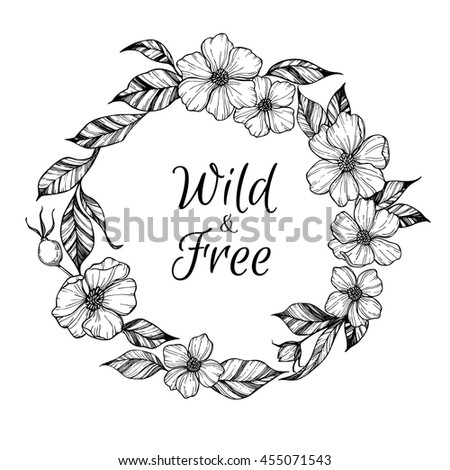 Hand drawn vector illustration - wreath with flowers and leaves. Perfect for invitations, greeting cards, quotes, tattoo, textiles, blogs, posters etc. Floral frame - stock vector