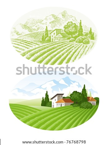 Hand drawn vector landscape with agrarian fields, village and mountains - stock vector
