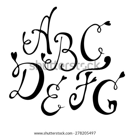 Hand drawn vector letters - stock vector