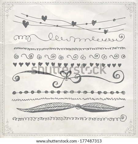 Hand drawn vector line border set and design element - stock vector