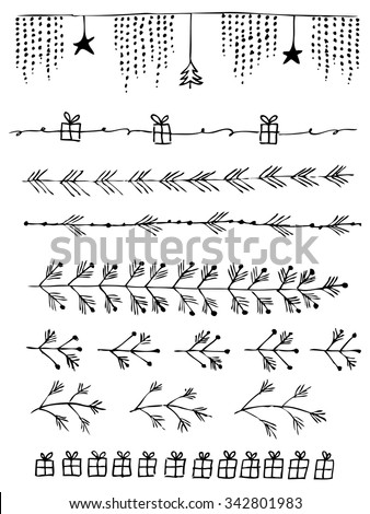Hand drawn vector line border set and design element in Happy New Year and Merry Christmas style - stock vector