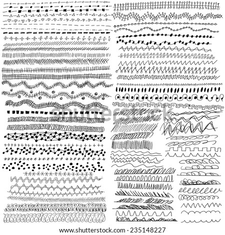Hand drawn vector line border set and design element. 80 pieces. - stock vector