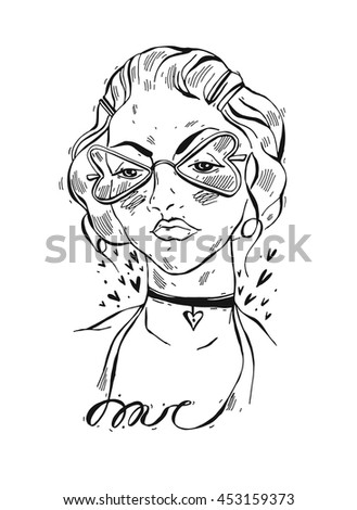 Hand drawn vector lined abstract graphic trend illustration of beautiful girl with sun glasses in the shape of a heart and choker on her neck.Hipster fashion character girl portrait - stock vector