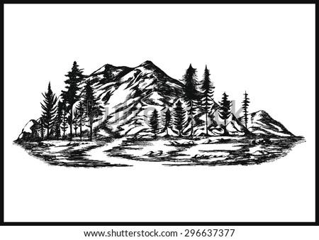 Hand drawn vector mountain - landscape illustration - stock vector