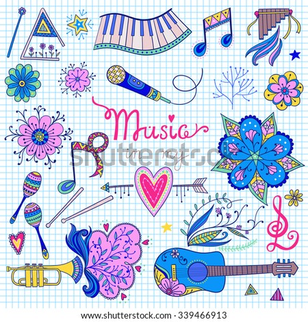 Hand-drawn vector music instruments and ornamental floral elements in 60s style. - stock vector