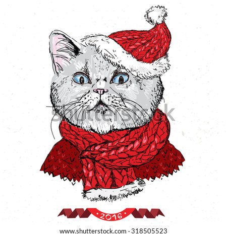 hand drawn vector of cat with christmas hat on white background - stock vector