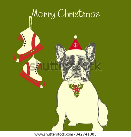 Hand drawn vector of French Bulldog. Merry Christmas card - stock vector