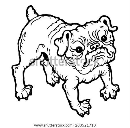 Hand Drawn Vector Portrait of Bulldog - stock vector