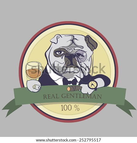 Hand Drawn Vector Portrait of French Bulldog with cigar and Monocle - stock vector